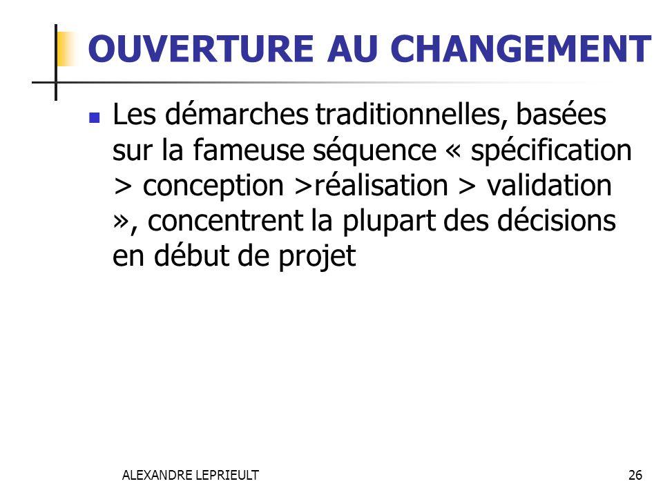 OUVERTURE AU CHANGEMENT