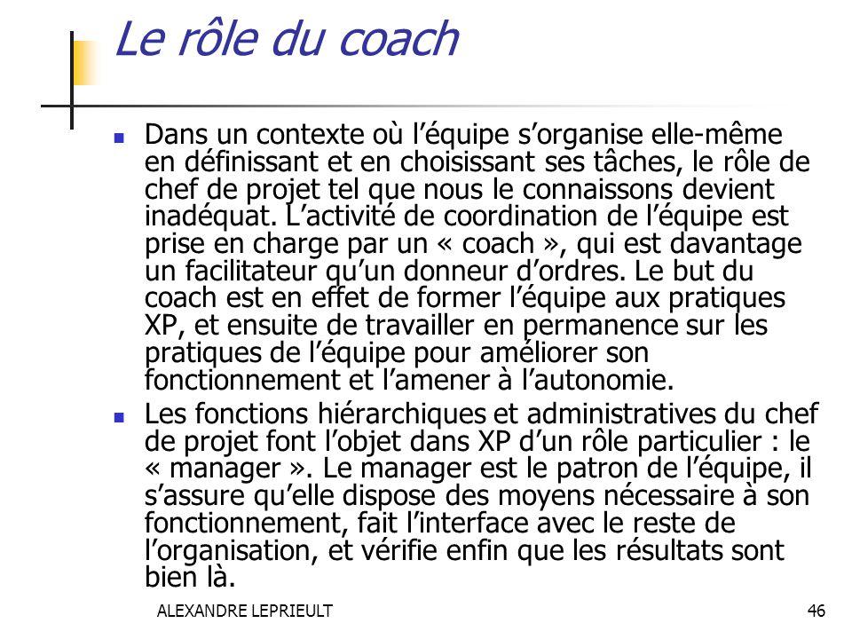 Le rôle du coach