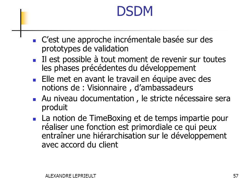 DSDM C'est une approche incrémentale basée sur des prototypes de validation.