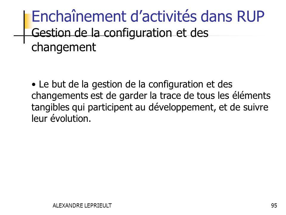 Enchaînement d'activités dans RUP Gestion de la configuration et des changement