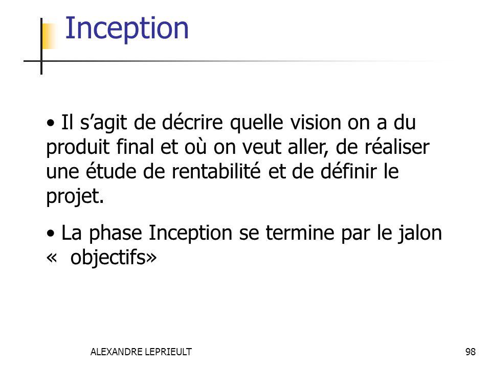 Inception Il s'agit de décrire quelle vision on a du produit final et où on veut aller, de réaliser une étude de rentabilité et de définir le projet.