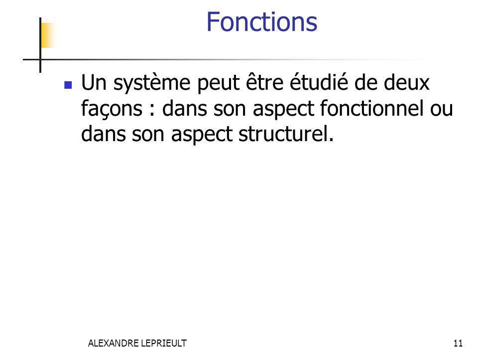 Fonctions Un système peut être étudié de deux façons : dans son aspect fonctionnel ou dans son aspect structurel.
