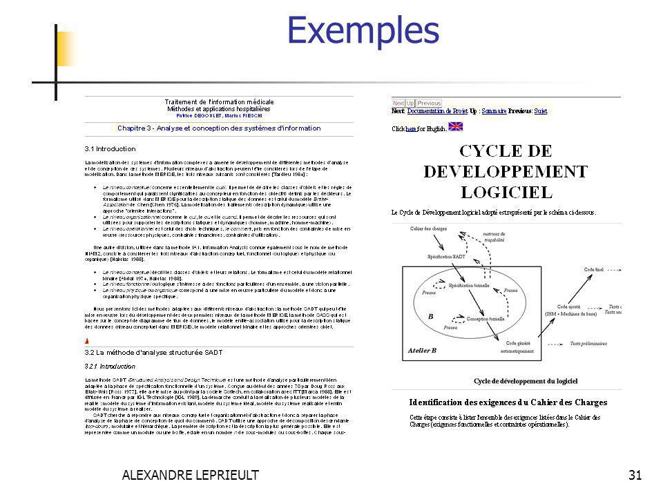 Exemples ALEXANDRE LEPRIEULT