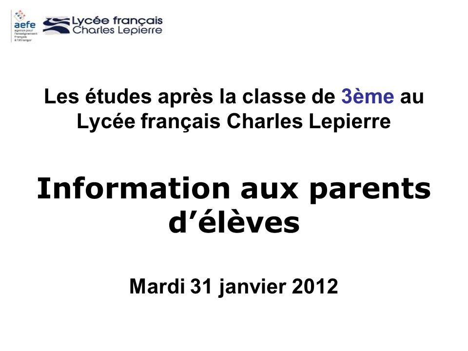 Information aux parents d'élèves
