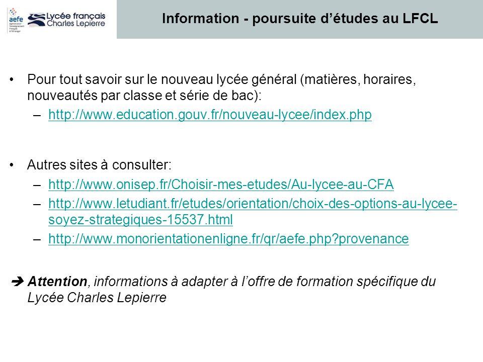 Information - poursuite d'études au LFCL