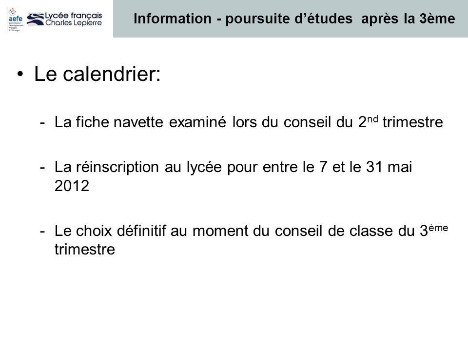 Information - poursuite d'études après la 3ème