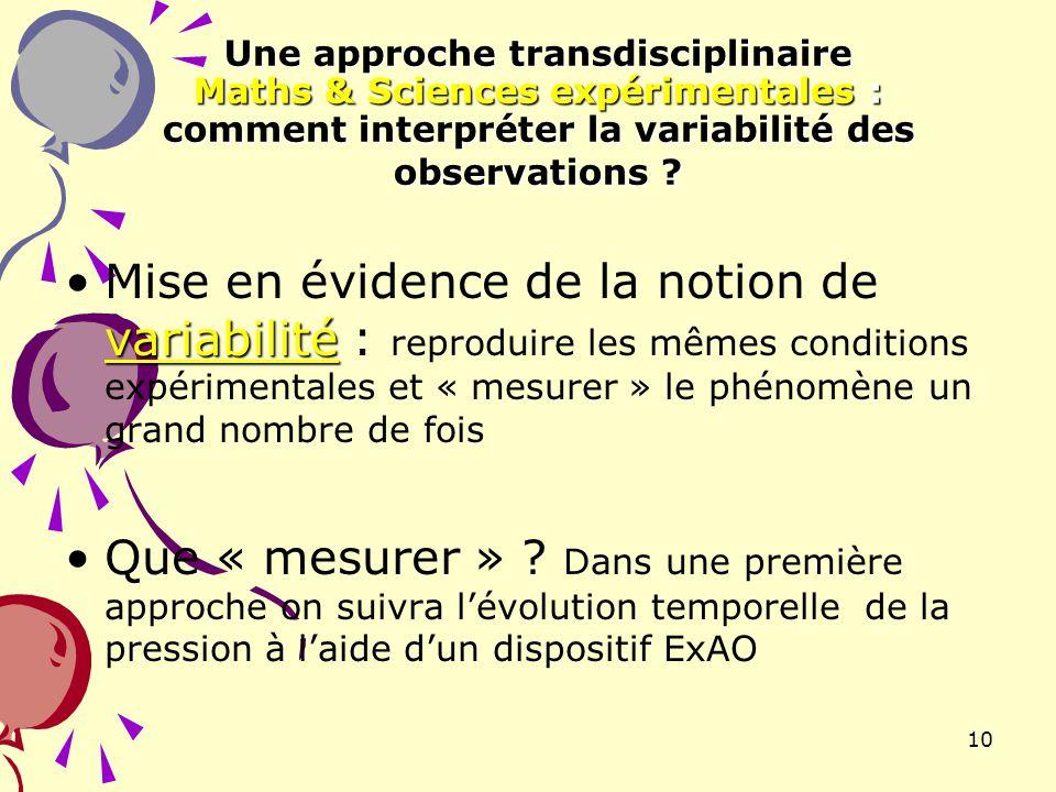 Une approche transdisciplinaire Maths & Sciences expérimentales : comment interpréter la variabilité des observations