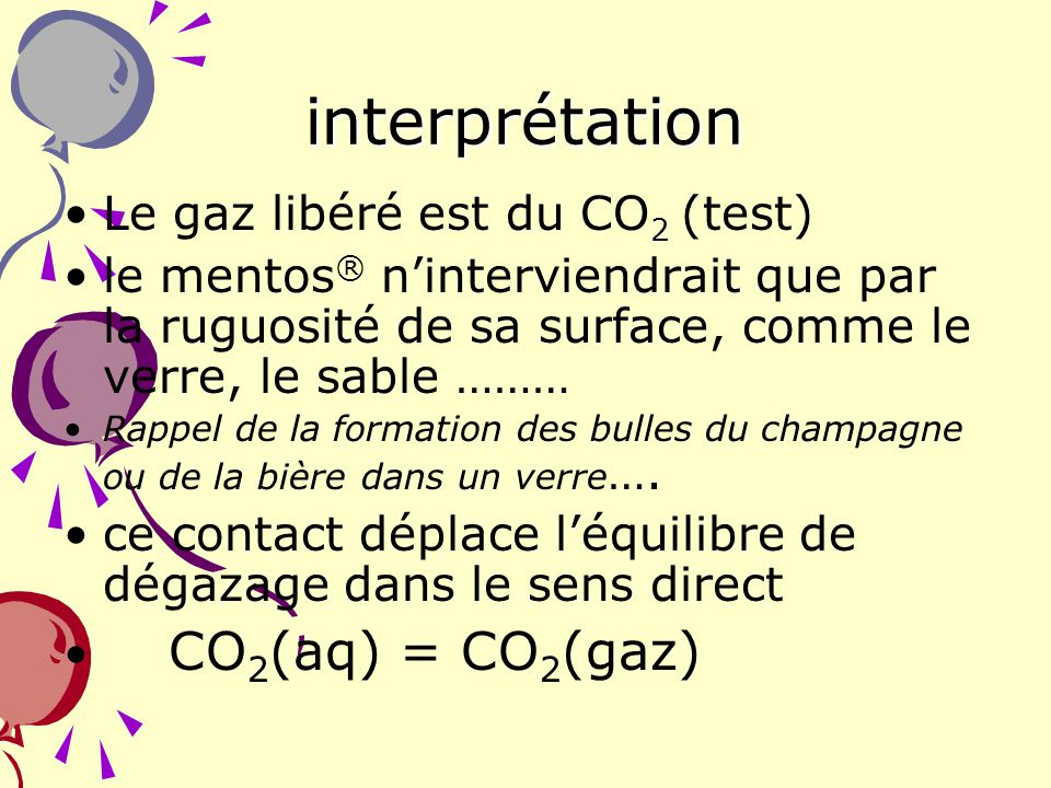 interprétation Le gaz libéré est du CO2 (test)