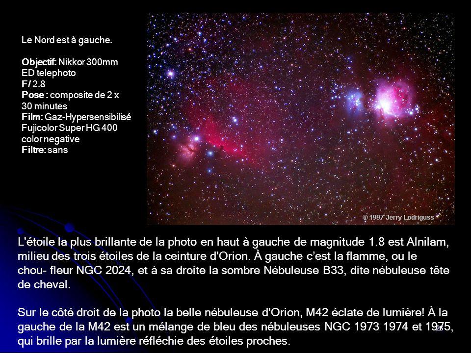 Le Nord est à gauche. Objectif: Nikkor 300mm ED telephoto. F/ 2.8. Pose : composite de 2 x 30 minutes.