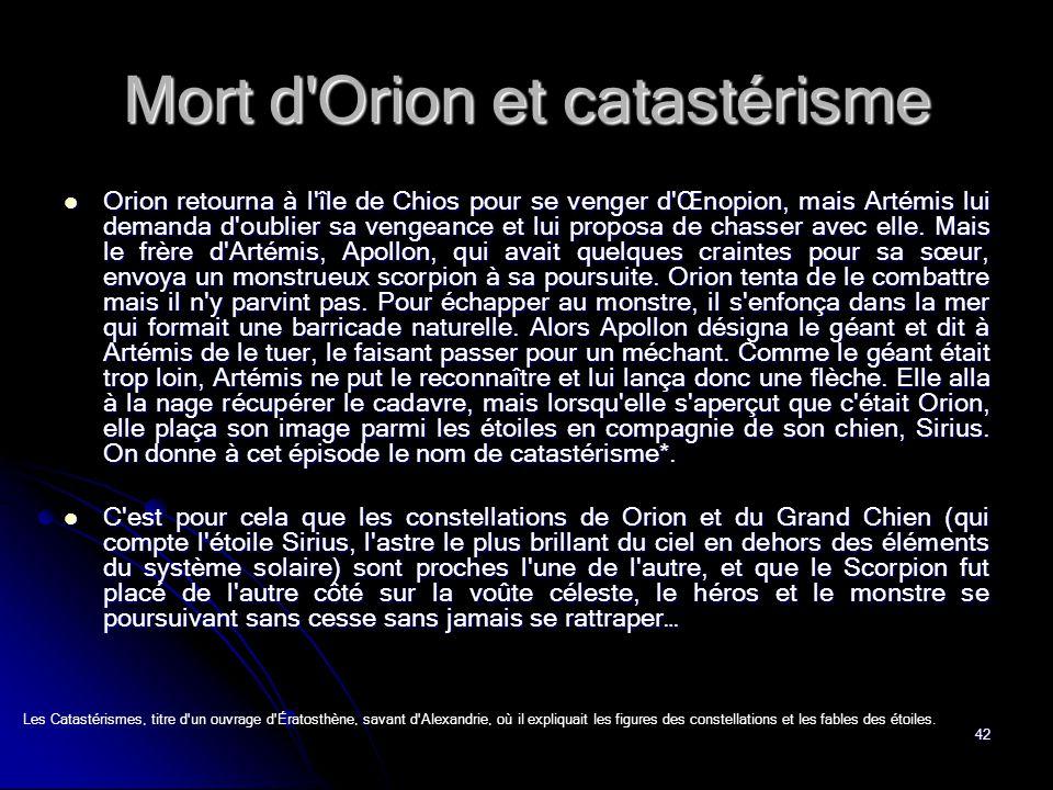 Mort d Orion et catastérisme