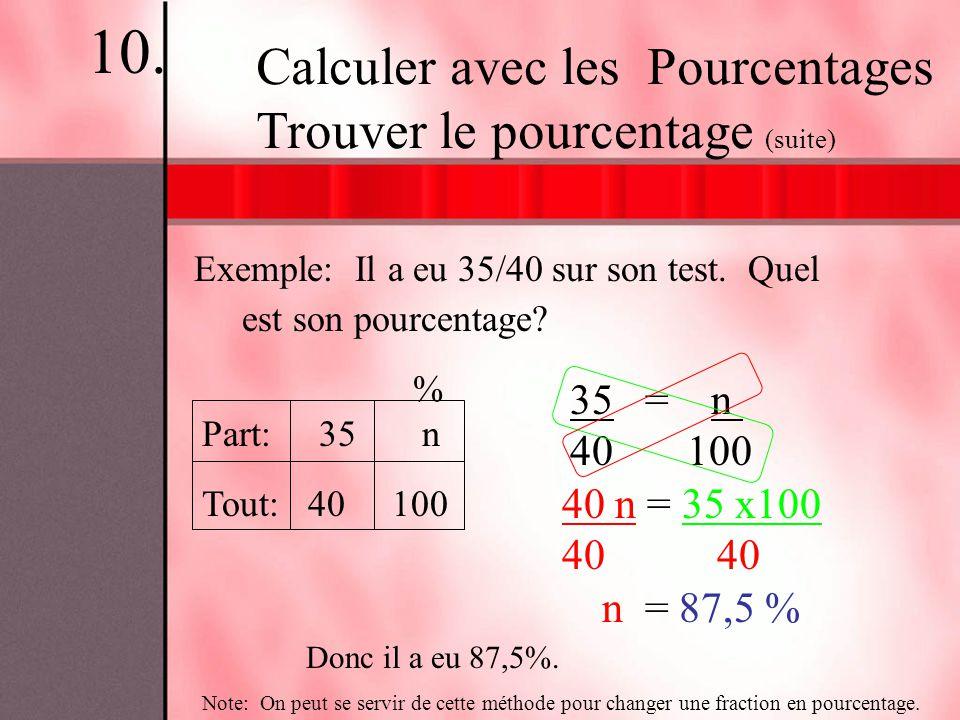 10. Calculer avec les Pourcentages Trouver le pourcentage (suite)