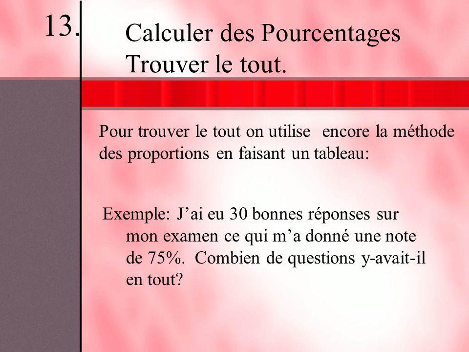 13. Calculer des Pourcentages Trouver le tout.