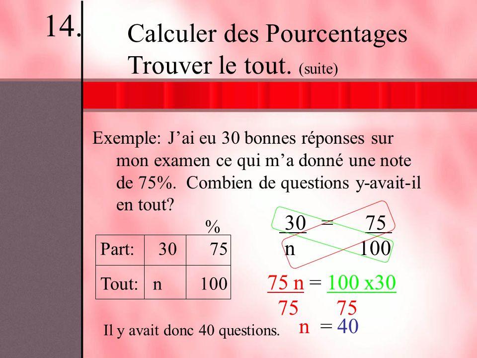 14. Calculer des Pourcentages Trouver le tout. (suite) 30 = 75 n 100