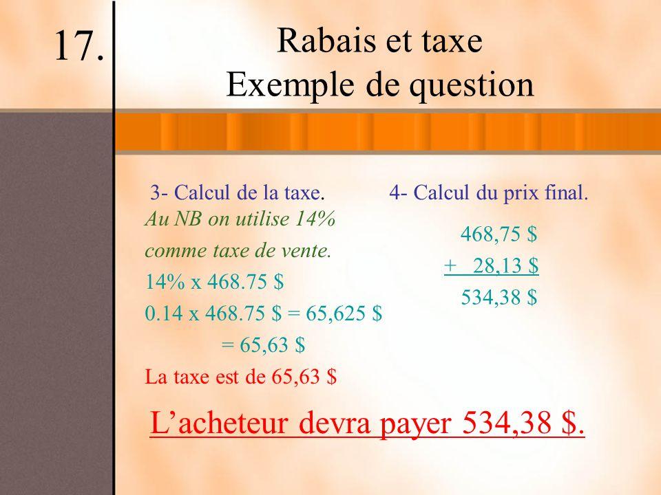 Rabais et taxe Exemple de question