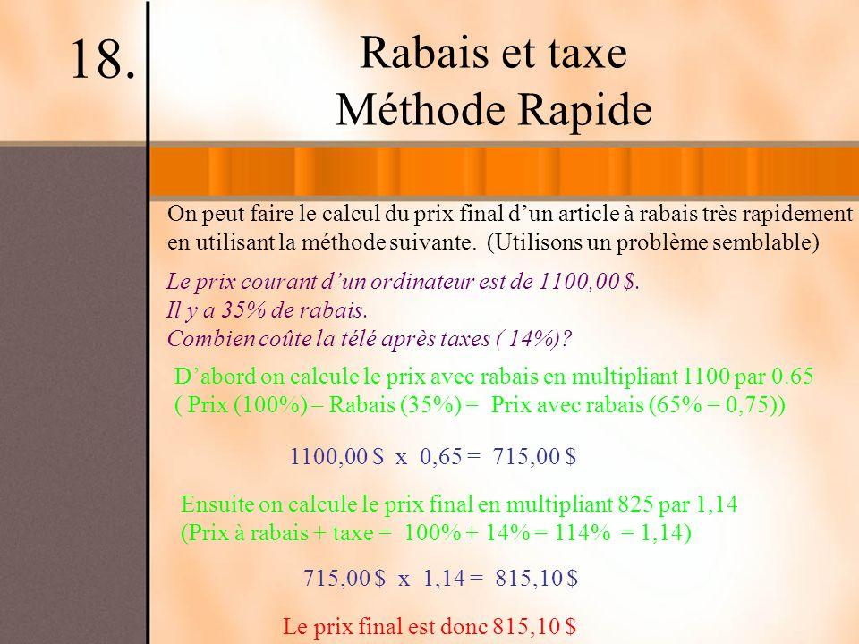 Rabais et taxe Méthode Rapide