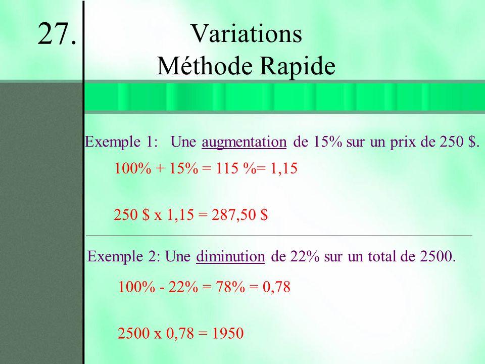 Variations Méthode Rapide