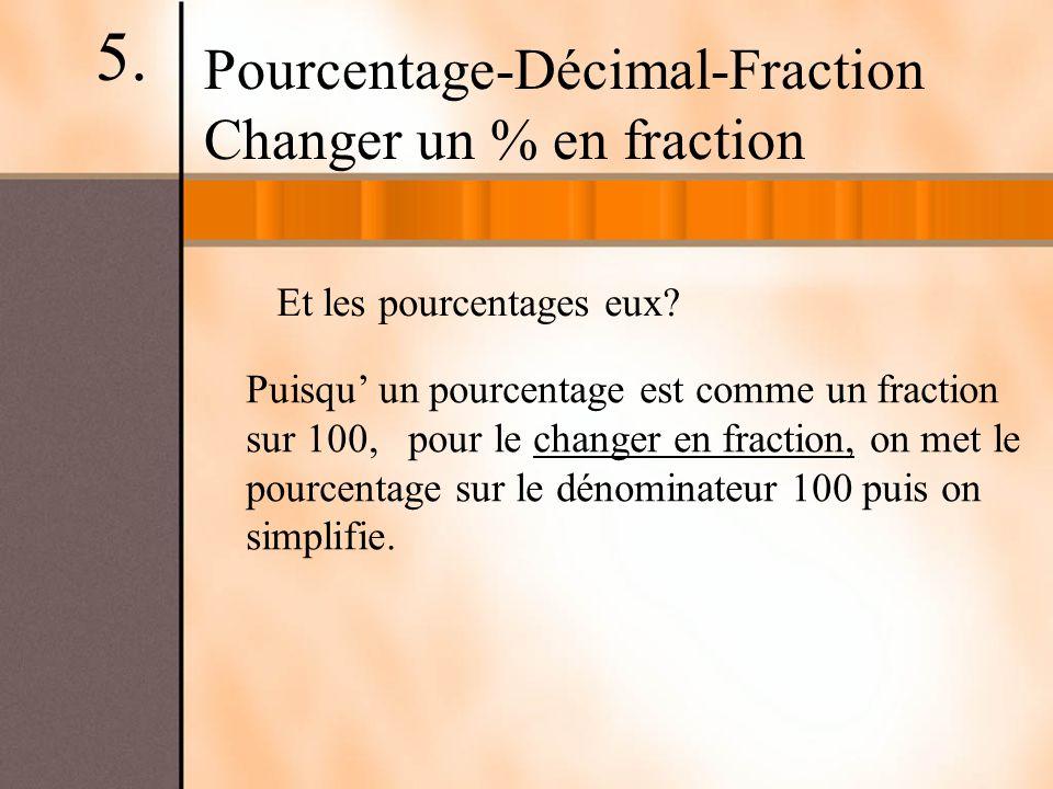 5. Pourcentage-Décimal-Fraction Changer un % en fraction