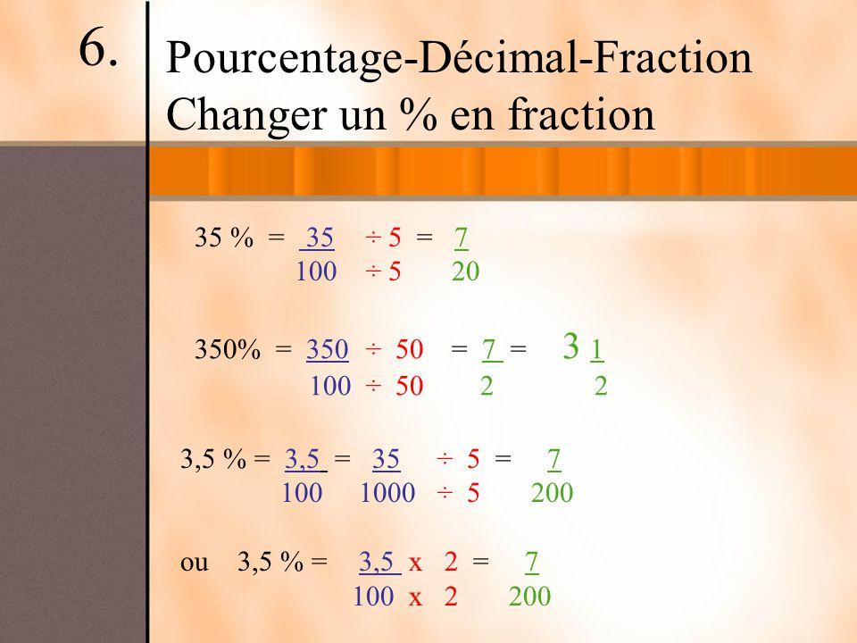 6. Pourcentage-Décimal-Fraction Changer un % en fraction