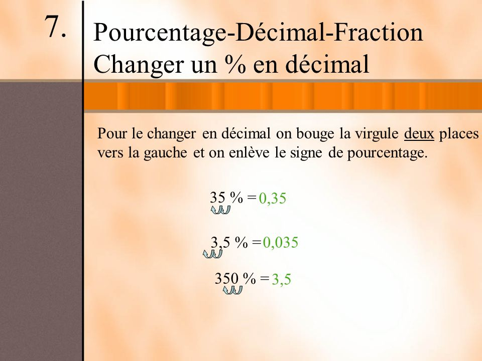 7. Pourcentage-Décimal-Fraction Changer un % en décimal