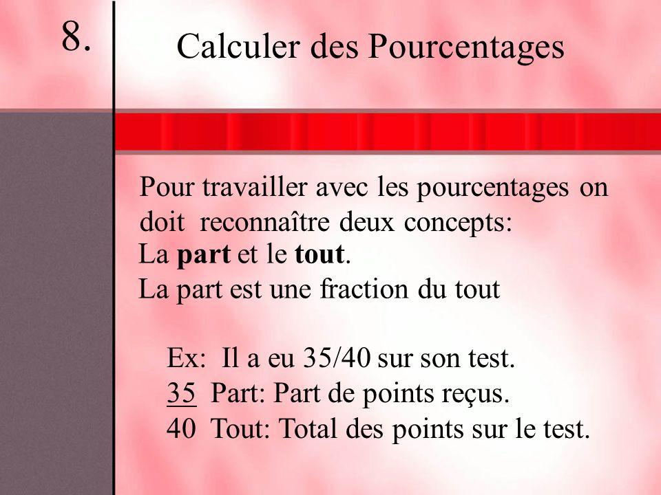 8. Calculer des Pourcentages