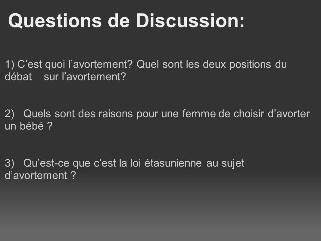 Questions de Discussion:
