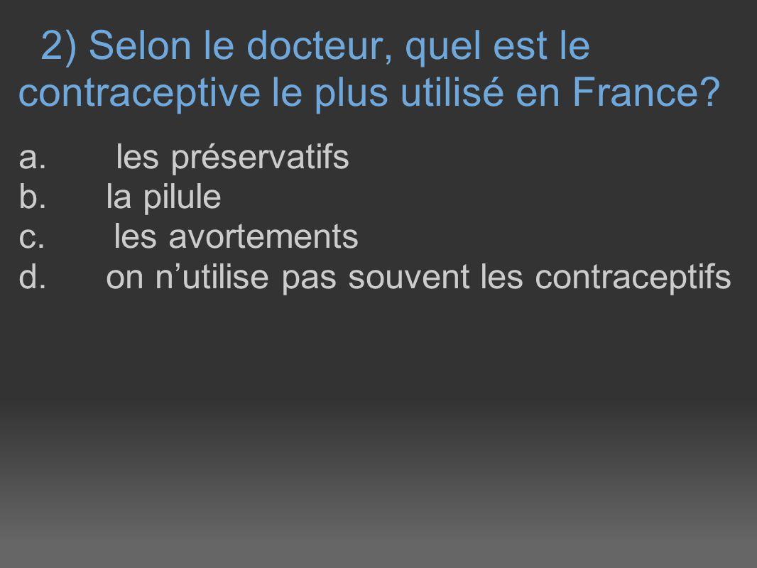 2) Selon le docteur, quel est le contraceptive le plus utilisé en France