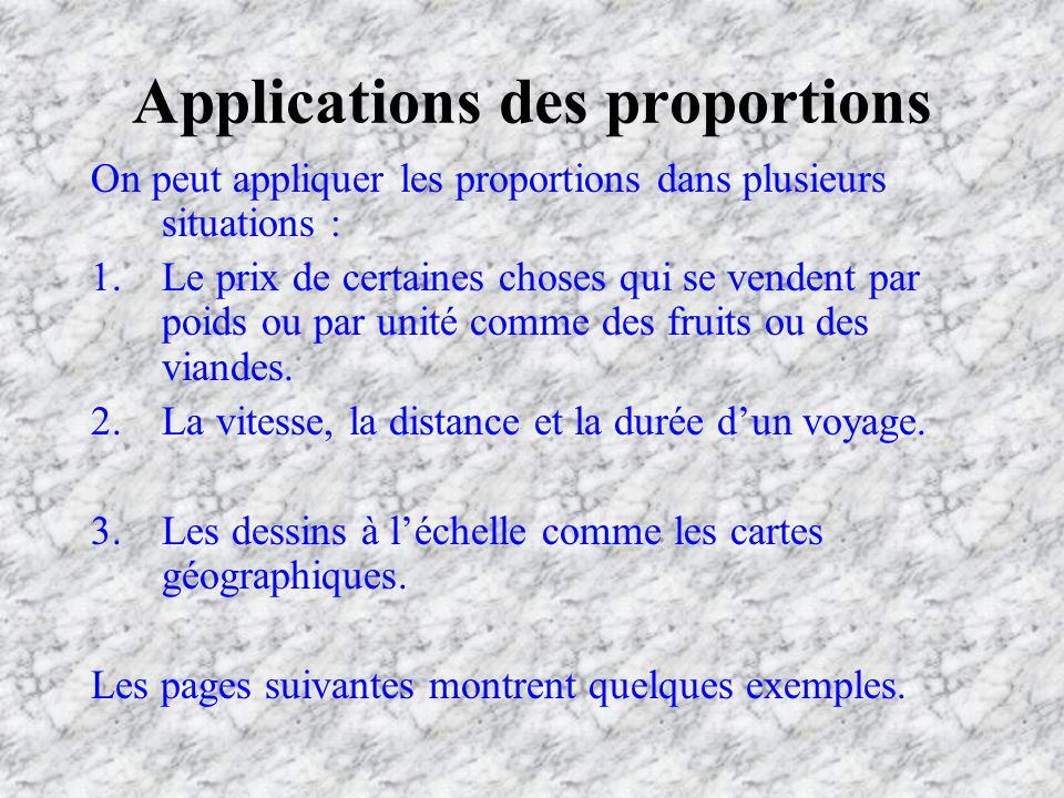 Applications des proportions