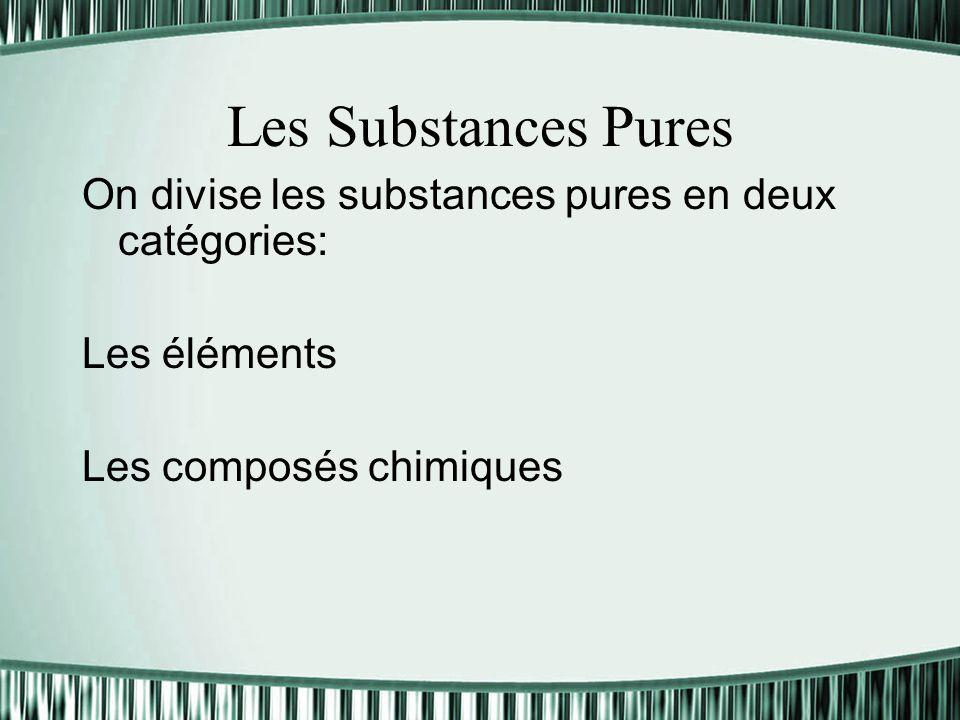 Les Substances Pures On divise les substances pures en deux catégories: Les éléments.