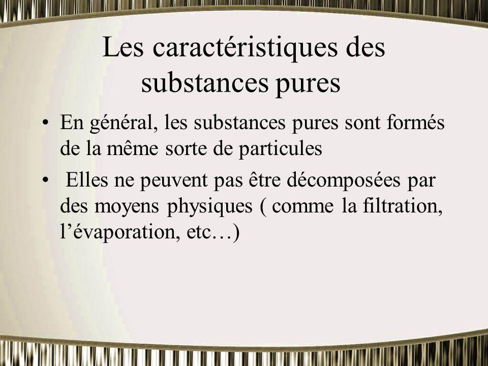 Les caractéristiques des substances pures