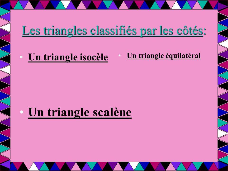 Les triangles classifiés par les côtés: