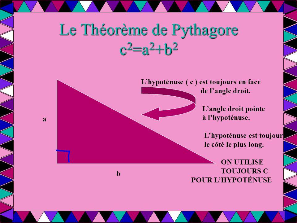 Le Théorème de Pythagore c2=a2+b2