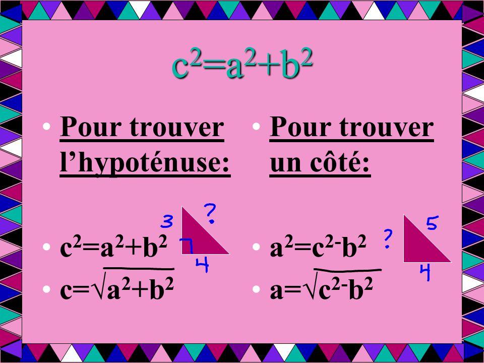 c2=a2+b2 Pour trouver l'hypoténuse: c2=a2+b2 c=√a2+b2