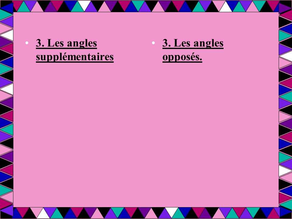 3. Les angles supplémentaires