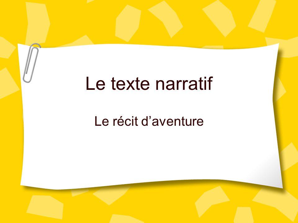 Le texte narratif Le récit d'aventure Connaissance antérieur: