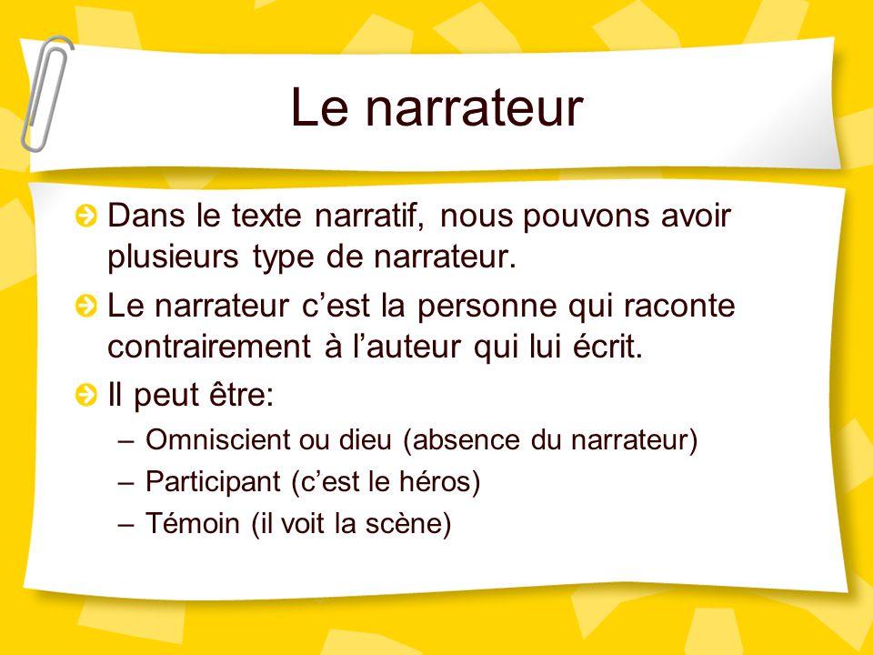Le narrateur Dans le texte narratif, nous pouvons avoir plusieurs type de narrateur.