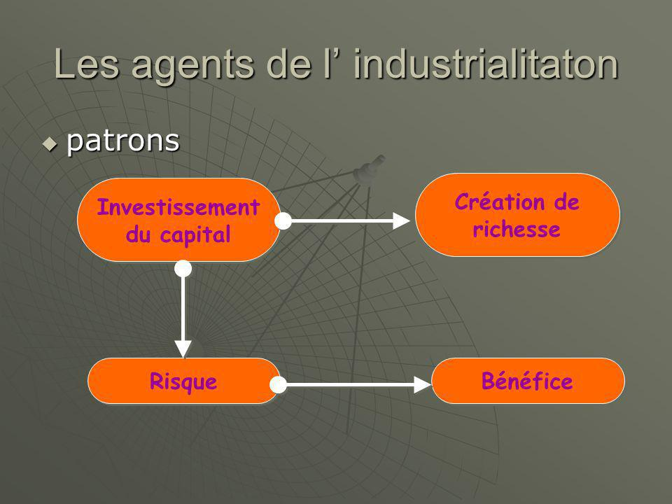 Les agents de l' industrialitaton