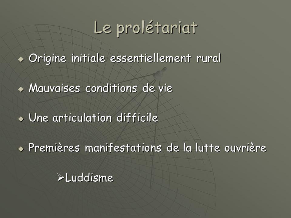 Le prolétariat Origine initiale essentiellement rural