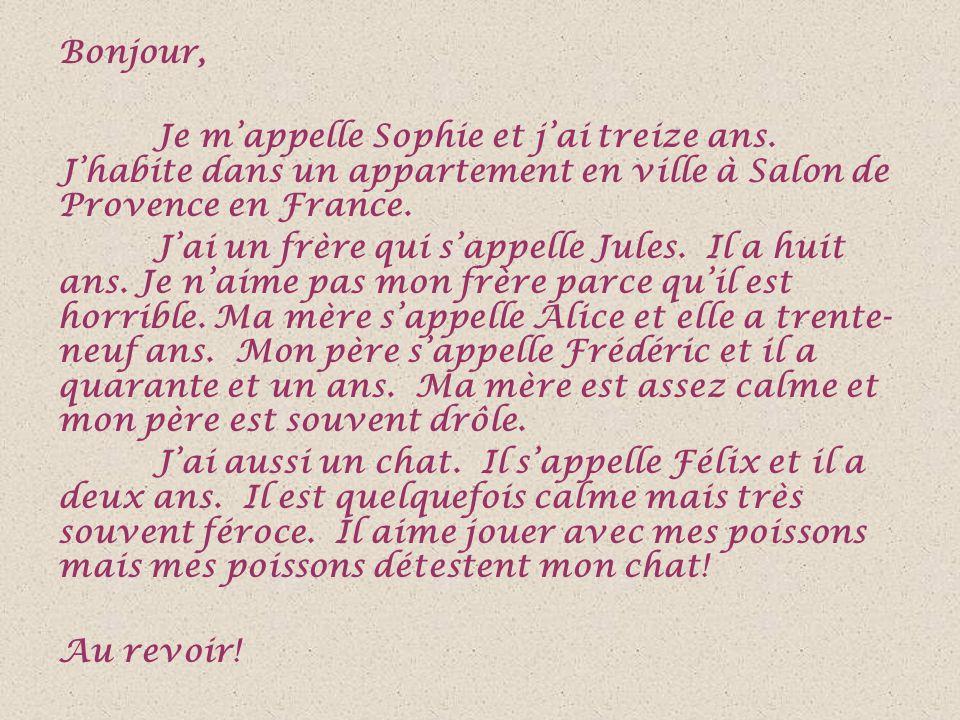 Bonjour, Je m'appelle Sophie et j'ai treize ans. J'habite dans un appartement en ville à Salon de Provence en France.