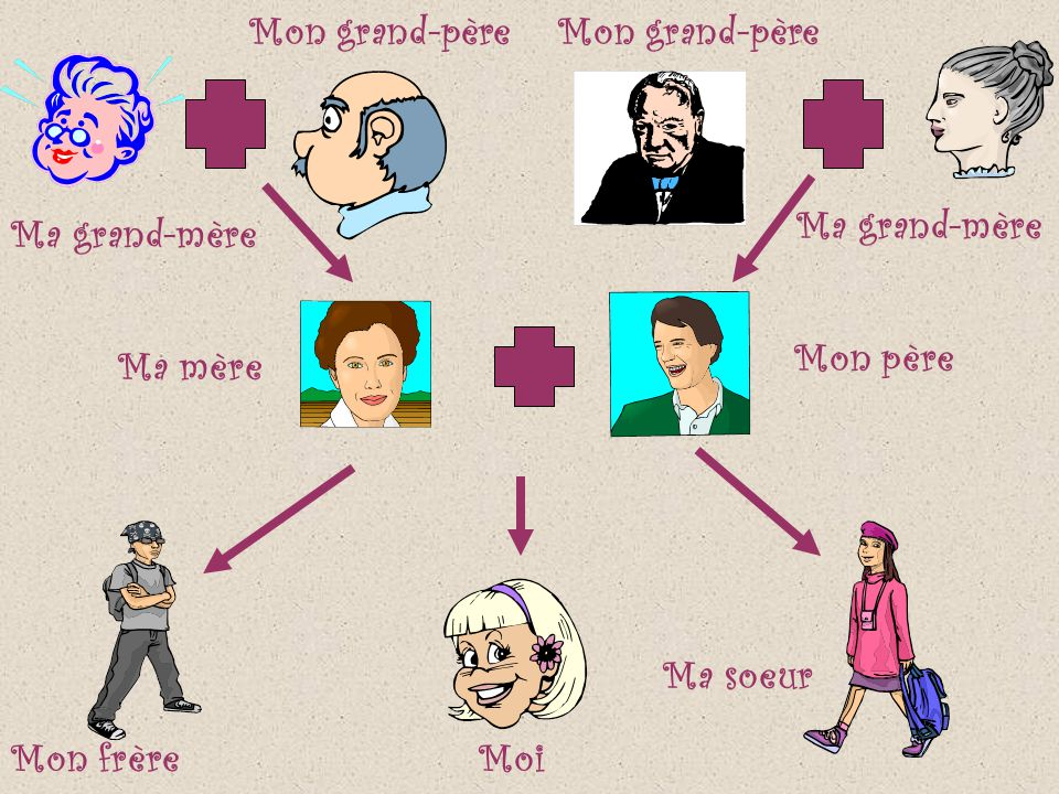 Mon grand-père Mon grand-père Ma grand-mère Ma grand-mère Mon père Ma mère Ma soeur Mon frère Moi