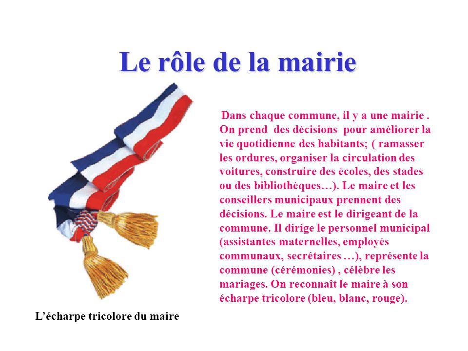 Le rôle de la mairie L'écharpe tricolore du maire