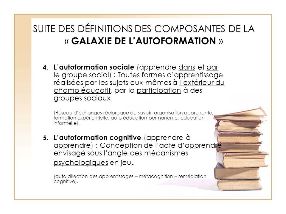 SUITE DES DÉFINITIONS DES COMPOSANTES DE LA « GALAXIE DE L'AUTOFORMATION »