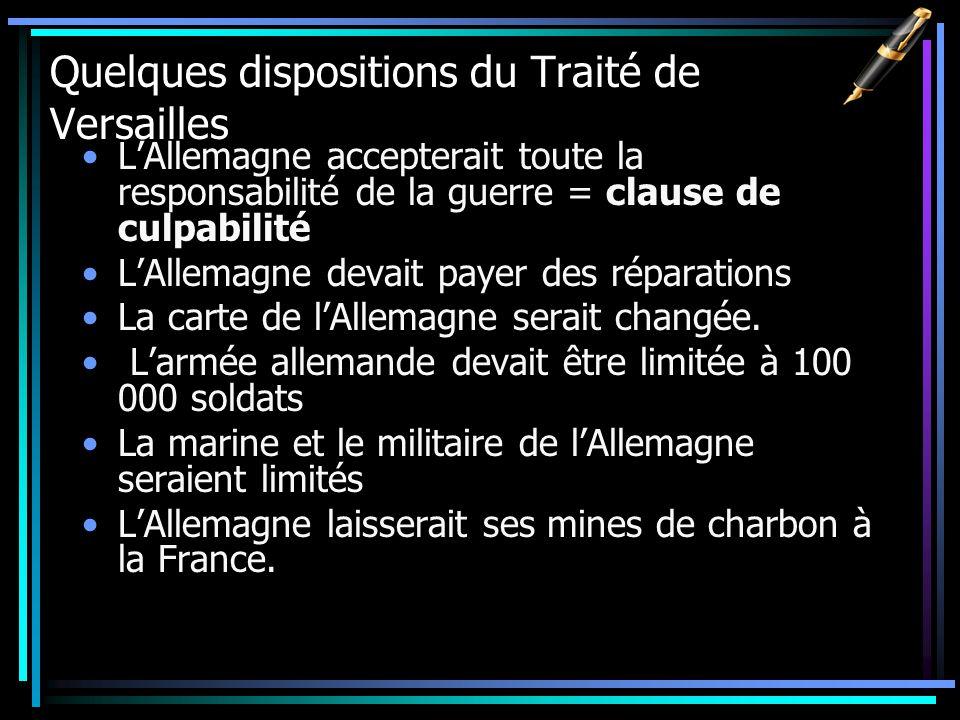 Quelques dispositions du Traité de Versailles