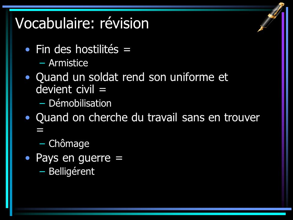 Vocabulaire: révision