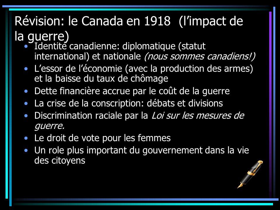 Révision: le Canada en 1918 (l'impact de la guerre)