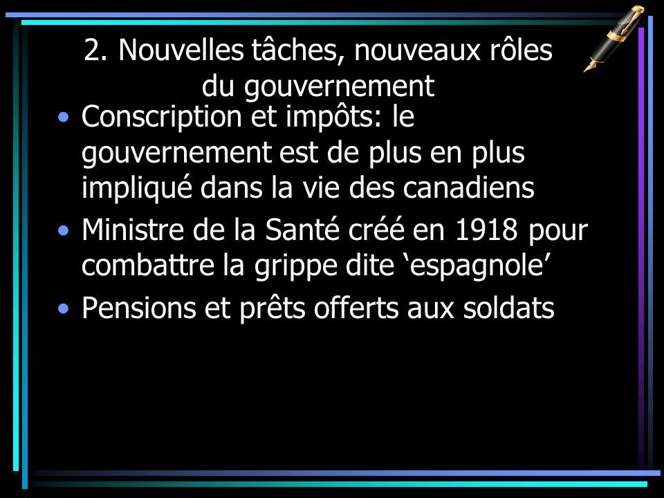 2. Nouvelles tâches, nouveaux rôles du gouvernement