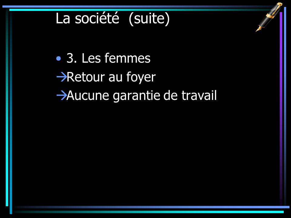 La société (suite) 3. Les femmes Retour au foyer