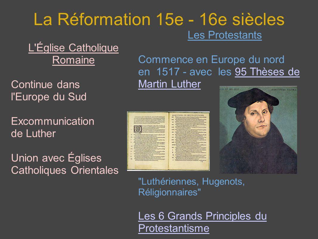 La Réformation 15e - 16e siècles