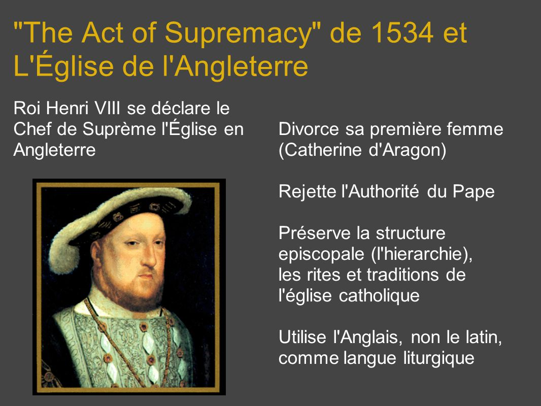 The Act of Supremacy de 1534 et L Église de l Angleterre