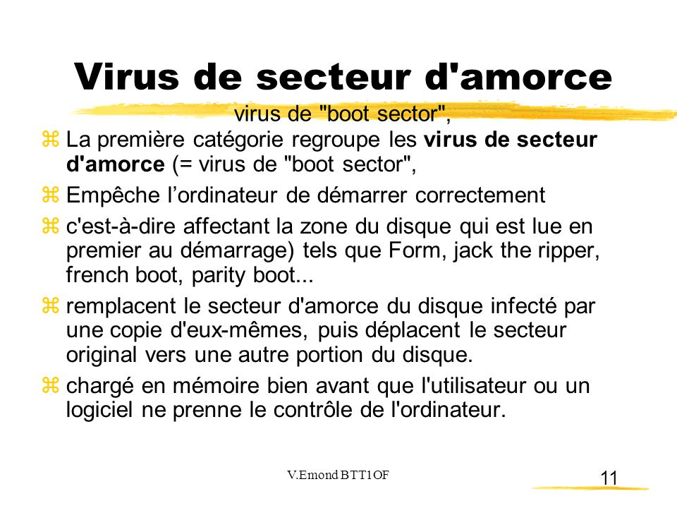 Virus de secteur d amorce virus de boot sector ,
