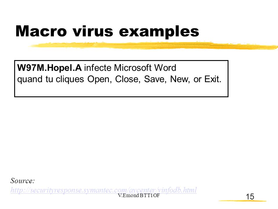 Macro virus examples W97M.Hopel.A infecte Microsoft Word quand tu cliques Open, Close, Save, New, or Exit.